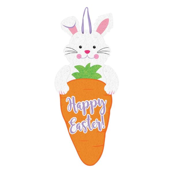 Happy Easter Bunny/Carrot Jointed Felt Sign